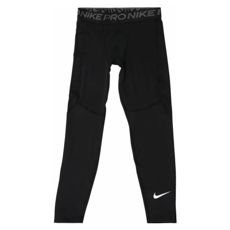NIKE Sportovní kalhoty černá / bílá / šedá