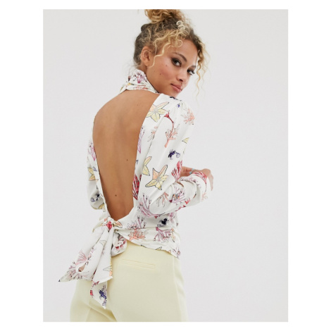 Never Fully Dressed button high neck open back top in sea life print-Multi