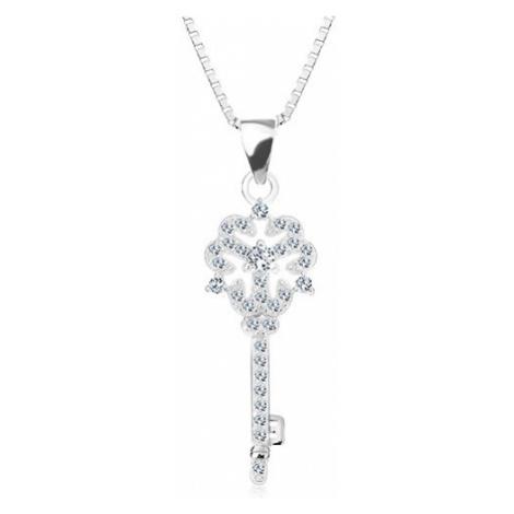 Stříbrný 925 náhrdelník, řetízek s přívěskem, klíček s kvítkem, čiré zirkony Šperky eshop