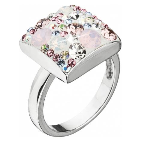 Evolution Group Stříbrný prsten s krystaly Swarovski růžový 35045.3