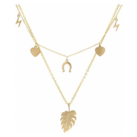 Stainless Steel Zlatý dámský náhrdelník s lístečkem NP008 ruznobarevne