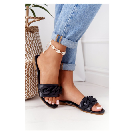 Leather Slippers With A Chain Black Step By Step Kesi