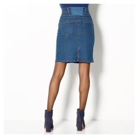 Blancheporte Džínová sukně s vysokým pasem modrá