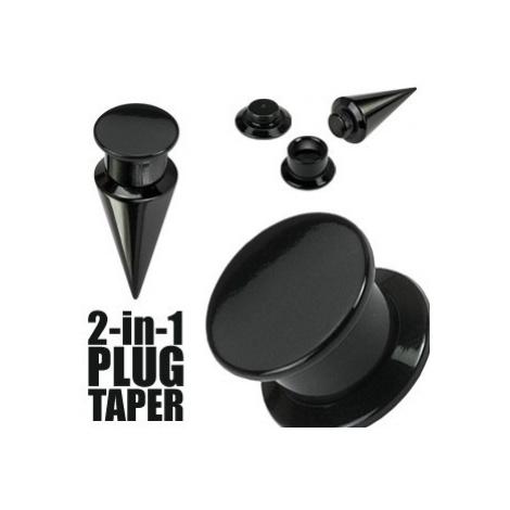 Taper a plug 2 v 1 černý - Tloušťka : 4 mm Šperky eshop