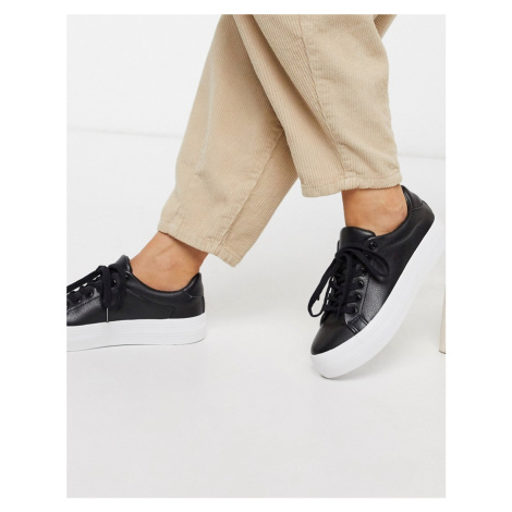 London Rebel flatform lace up trainer in black