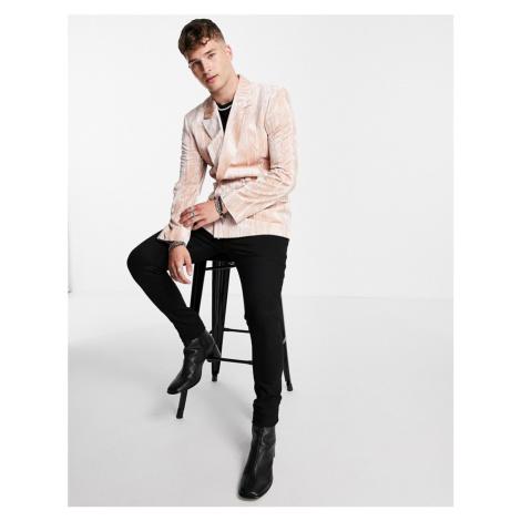 ASOS DESIGN skinny double breasted velvet plisse blazer in rose pink