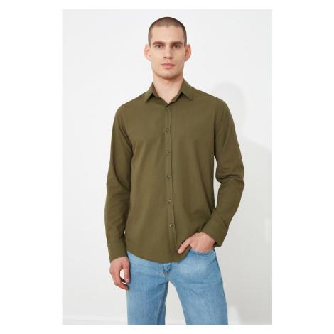 Trendyol Khaki Men Slim Fit Epaulette Sleeve Buttoned Collar Shirt