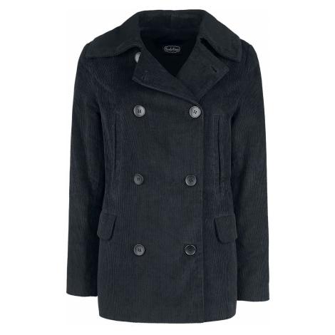 Voodoo Vixen Manšestrový středně dlouhý kabát Cassia Caspian Sea Dámský kabát černá