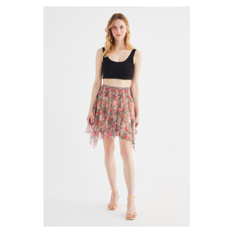 Trendyol Multi Color Printed Tulle Knit Skirt