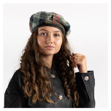Šedý kostkovaný baret Faux Fur Beret Kangol