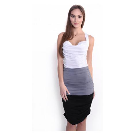 Řasené šaty bez rukávů barva bílá/šedá