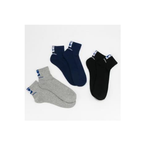 Champion 3Pack Double Logo Socks navy / melange šedé / černé