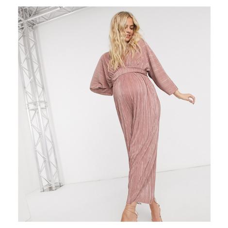 ASOS DESIGN maternity kimono sleeve plisse jumpsuit-Pink