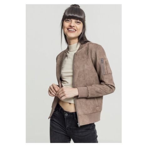 Ladies Imitation Suede Bomber Jacket - taupe Urban Classics