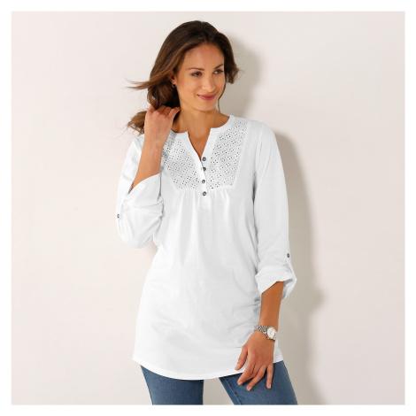 Blancheporte Tričko s knoflíky a dlouhými rukávy bílá