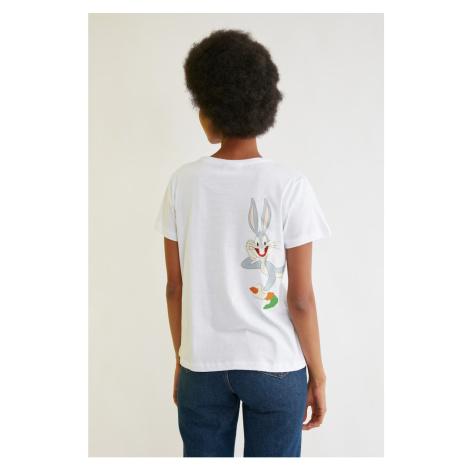 Trendyol White Bugs Bunny Licensed Printed Basic Knitted T-Shirt