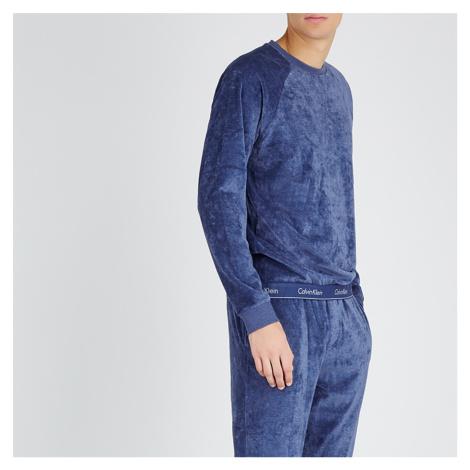 Tmavě modrá mikina Modern Co. Velour Calvin Klein