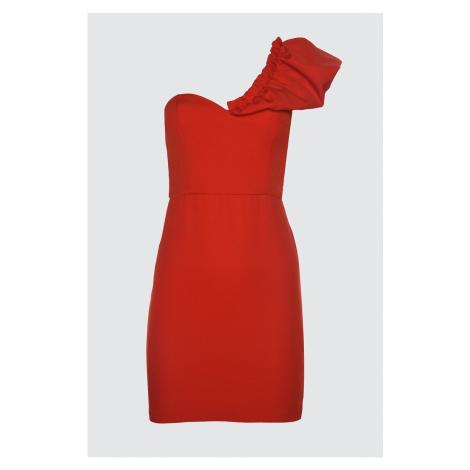 Trendyol Red Collar Pucker Detail Dress