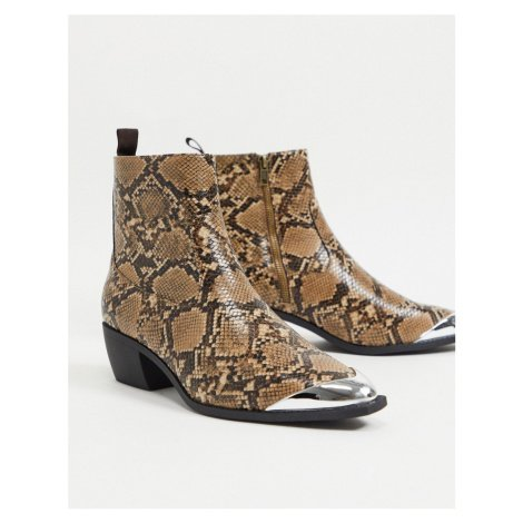 ASOS DESIGN cuban heel western chelsea boots in brown faux leather with snake print angular sole