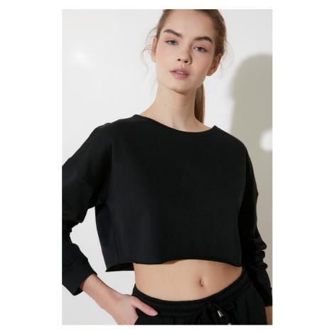 Trendyol Black Crop Knitted Sweatshirt
