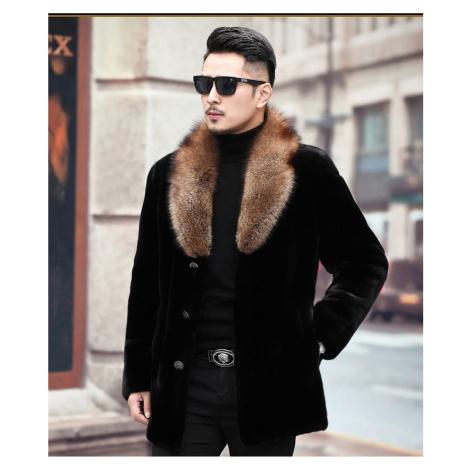 Stylová pánská kožešinová bunda teplá na knoflíky