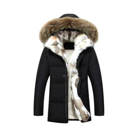 Pánská zimní bunda s odnímatelným kožíškem parka s kapucí