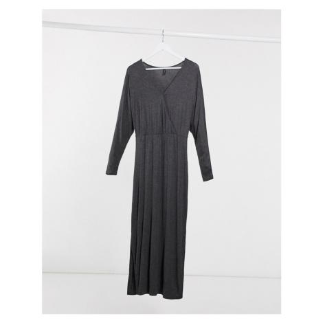 Y.A.S Winea wrap front maxi dress in grey