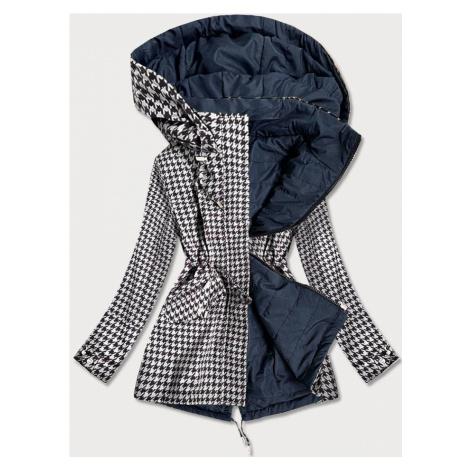 Oboustranná, bílo-tmavě modrá dámská bunda s pepitovým vzorem (W506) MHM
