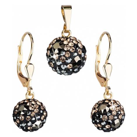 Zlatá 14 karátová sada šperků s krystaly Swarovski náušnice a přívěsek mix barev 939072.4 colora