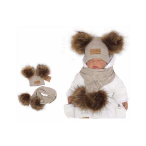 Z&Z Zimní čepice s bambulemi z kožešinky a šálou 2v1, béžová, vel.