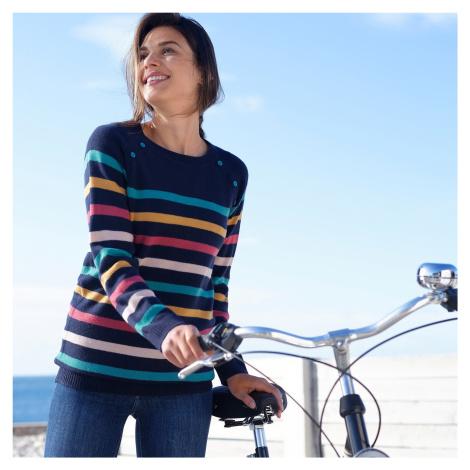 Blancheporte Pruhovaný pulovr s knoflíky nám.modrá/vícebarevná