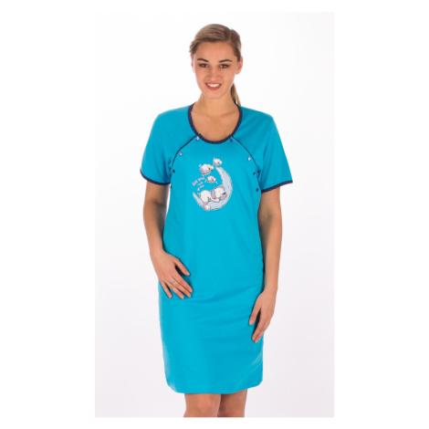 Dámská mateřská košile Vienetta Secret Štěně na měsíci | modrá