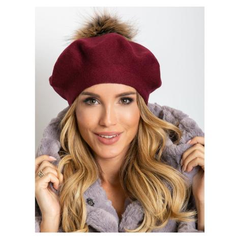Burgundy beret with pompom Fashionhunters