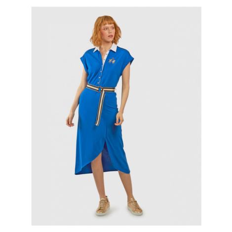 Šaty La Martina Woman Co Modal Piquet Dress - Modrá
