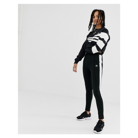 Adidas Originals side stripe super slim joggers in black