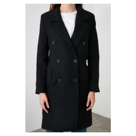 Trendyol Black Button Closing Wool Kase Kaban