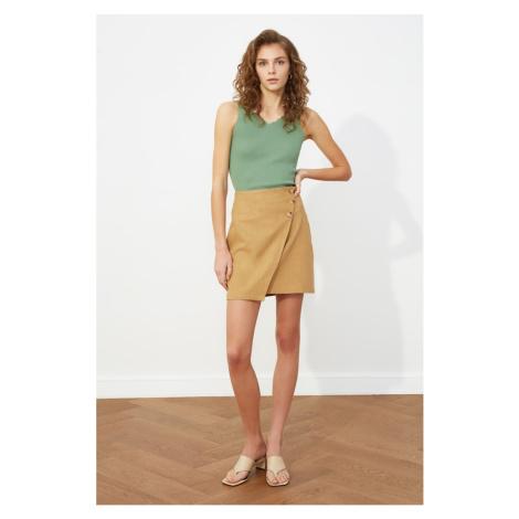 Trendyol Camel Button Skirt