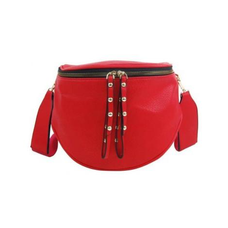 Rosy Bag Větší dámská ledvinka se zlatými doplňky červená Červená