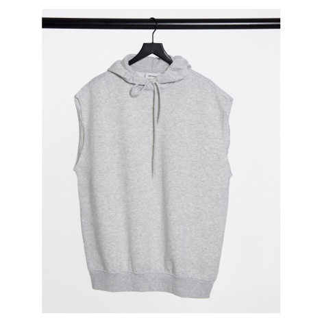 Monki Becky organic cotton sleeveless hoodie in grey