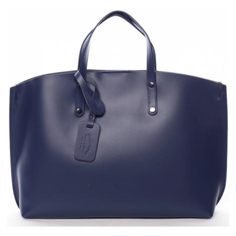 Italy Modrá kožená kabelka do ruky Jordana Modrá