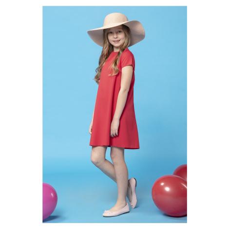 Dětské šaty dívčí s krátkým rukávem a záhyby na zádech