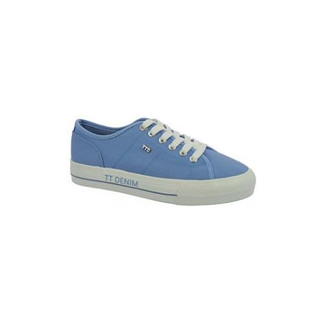 Modré plátěné tenisky na platformě Tom Tailor