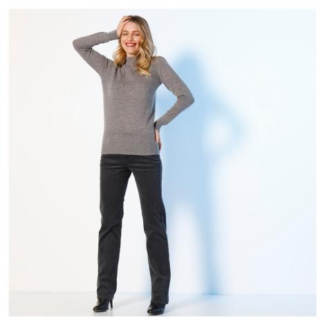 Manšestrové kalhoty s knoflíky antracitová