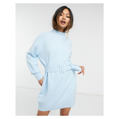& Other Stories knitted belted mini dress in blue