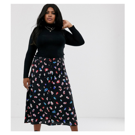 Wednesday's Girl Curve midaxi skirt in bright floral-Red