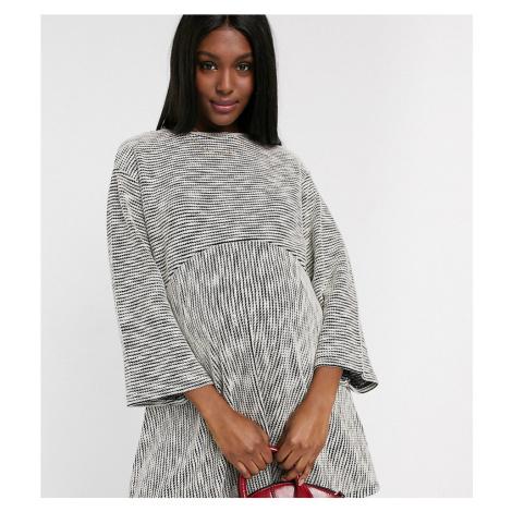 ASOS DESIGN Maternity marl smock swing mini dress in grey marl