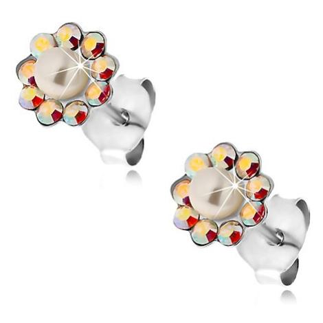 Náušnice ze stříbra 925, kvítek z duhových krystalků Preciosa a perličky Šperky eshop