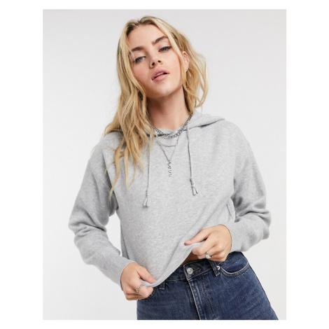 Bershka knitted hoodie co-ord in grey