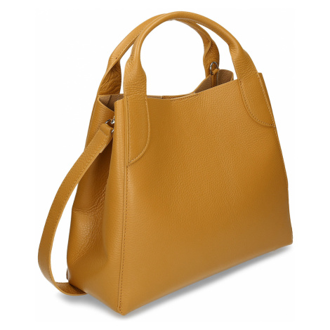 Žlutá kožená dámská kabelka s vnitřní taštičkou Baťa