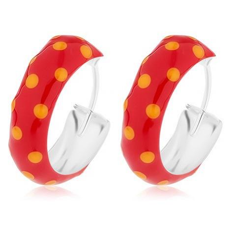 Kruhové stříbrné 925 náušnice, červená glazura s oranžovými puntíky, 14 mm Šperky eshop